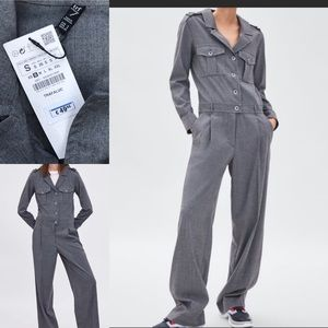 Zara trf grey jumpsuit